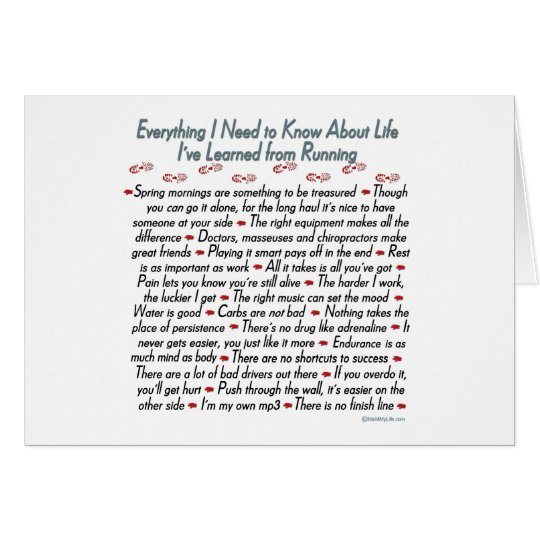 Running Life Lessons Card