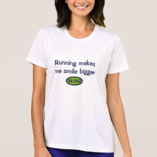 Running makes me smile bigger t-shirts