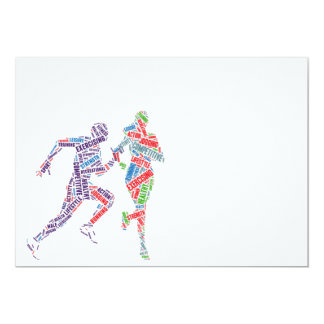 Running man and girl 5x7 paper invitation card