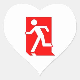 Running Man Emergency Fire Exit Sign Heart Sticker