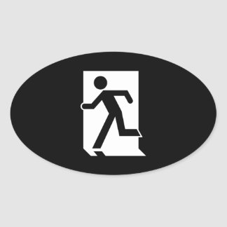 Running Man Emergency Fire Exit Sign Oval Sticker