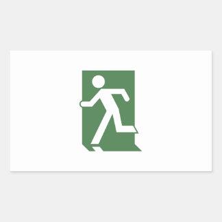 Running Man Emergency Fire Exit Sign Rectangular Sticker