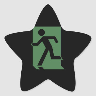 Running Man Emergency Fire Exit Sign Star Sticker