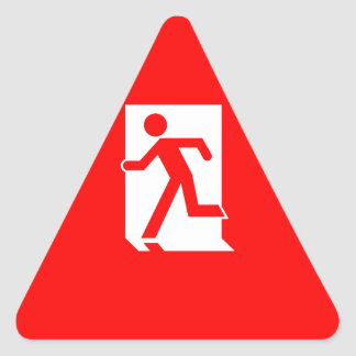 Running Man Emergency Fire Exit Sign Triangle Sticker