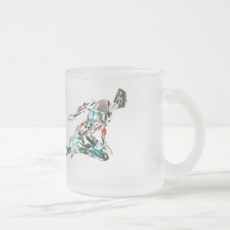 Running Man for Sports Business and Technology Frosted Glass Coffee Mug