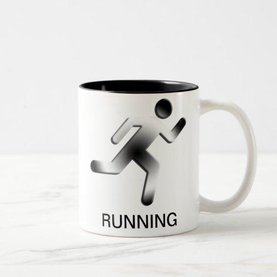 Running Man Silhouette Two-Tone Coffee Mug