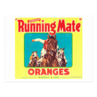 Running Mate Orange LabelLindsay, CA Postcard
