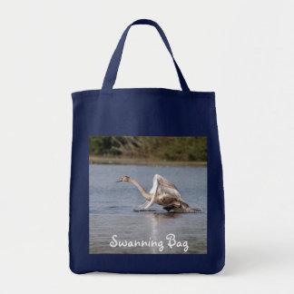 Running Mute Swan Wildlife Waterfowl Photo Tote Bag