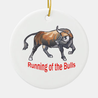 Running Of The Bulls Ceramic Ornament