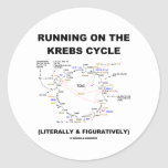 Running On The Krebs Cycle (Science Humor) Round Sticker