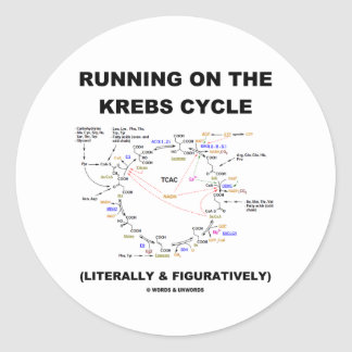 Running On The Krebs Cycle Science Humor Round Sticker