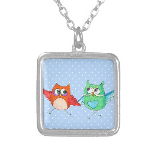 Running owls square pendant necklace