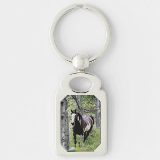 Running Pinto Horse equine photo Silver-Colored Rectangular Metal Keychain