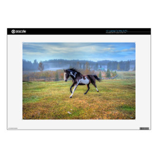 Running Pinto Paint Horse & Misty Morning on Ranch Decals For Laptops