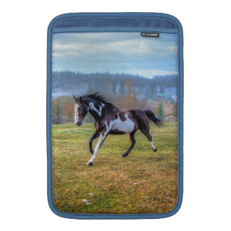 Running Pinto Paint Horse & Misty Morning on Ranch Sleeve For MacBook Air