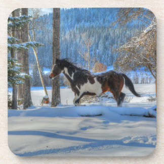 Running Pinto Paint Stallion in Winter Snows Photo Drink Coasters