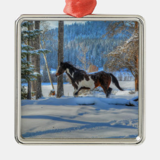Running Pinto Paint Stallion in Winter Snows Photo Metal Ornament