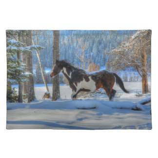 Running Pinto Paint Stallion in Winter Snows Photo Placemat