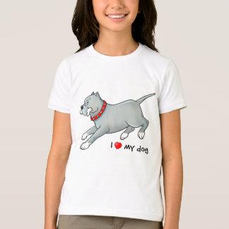 Running Pitbull Dog with Bone - Customise T-shirt