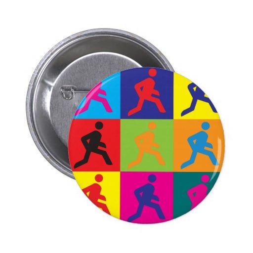 Running Pop Art Button