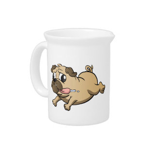 running pug cartoon beverage pitcher