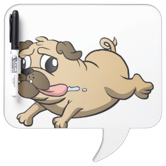 running pug cartoon Dry-Erase board