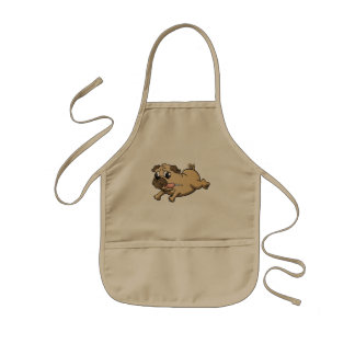running pug cartoon kids' apron