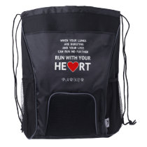Running quote custom name sports drawstring backpack