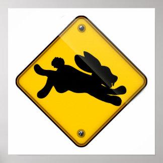 Running Rabbit Crossing Sign Poster