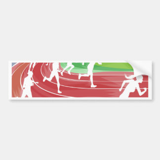 Running Race on Track Bumper Stickers