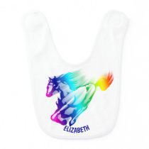 Running Rainbow Horse With Motion Trail Baby Bib