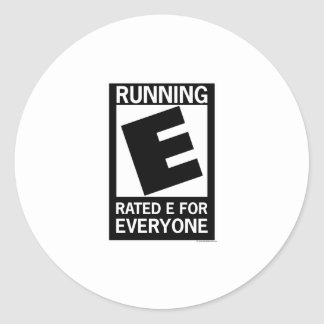Running Rated E For Everyone Classic Round Sticker