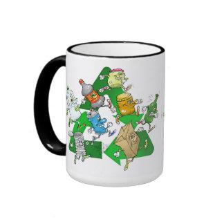 Running recyclables, on a mug. ringer mug