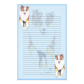 Running Red Merle Aussie Lined Stationery