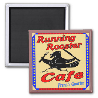 Running Rooster Cafe S 2 Inch Square Magnet