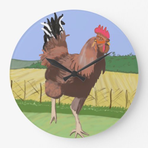 Running Rooster in the Countryside Large Clock