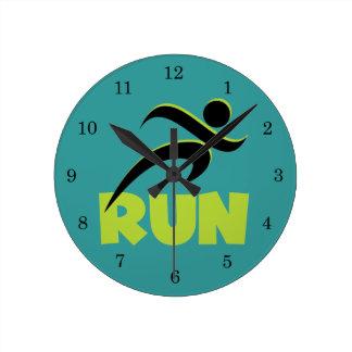 Running Runner Fitness Green Round Clock