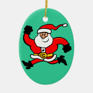 Running Santa Claus Double-Sided Oval Ceramic Christmas Ornament