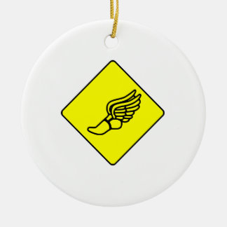 Running Shoe With Wings Sign Ceramic Ornament