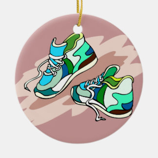 Running Shoes Double-Sided Ceramic Round Christmas Ornament