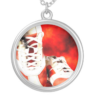 Running Shoes Runner Athlete Grunge Style Silver Plated Necklace