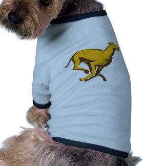 """""""running side"""" el competir con de perro del galgo camisa de mascota"""