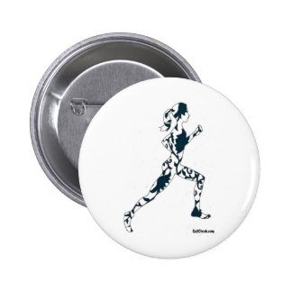 Running Silhouette - Floral Button