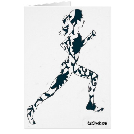 Running Silhouette - Floral Card
