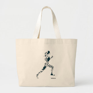 Running Silhouette - Floral Large Tote Bag