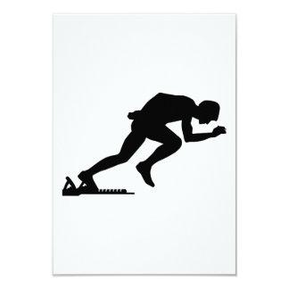 Running sprint start 3.5x5 paper invitation card