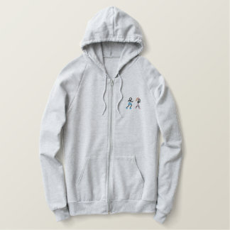 Running Stick Figures Embroidered Hoodie