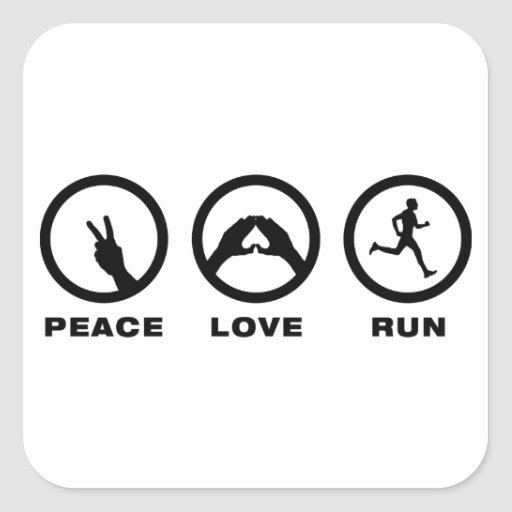 Running Square Stickers