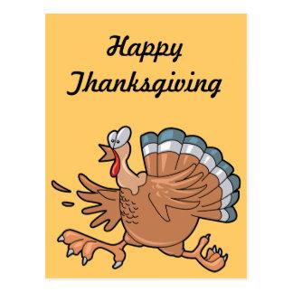 Running Thanksgiving Turkey Postcard