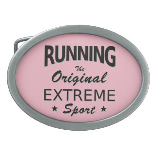 RUNNING, the original extreme sport. (blk) Oval Belt Buckle